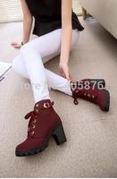 Autumn winter 2014 women new plus velvet short boots thick heels wild black matte female korean OL Martin boots 4 colours