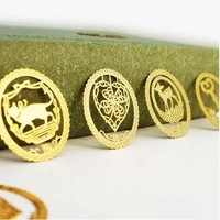 Novelty Christmas gift ! 4 p/set Exquisite Cutout lace decoration 18k gold plated metal bookmark 6321 Free Shipping