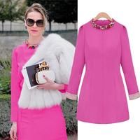 2014 neckline diamond three quarter sleeve slim fashion o-neck slim basic 9938 one-piece dress