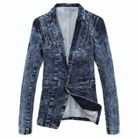 Free shipping 2014 Autumn new fashion mens casual suit male slim fit jacket outerwear blaser masculino denim blazer men