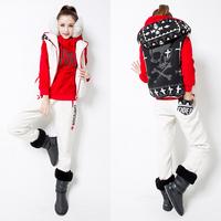 New fashion 2014 winter women sweatshirt thickening yarn skull pattern hoodies casual wool stitching clothing set S_XXL