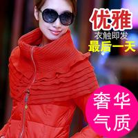 Fashion 2014 winter jacket women luxury plush medium-long down jacket slim warm coat outerwear size L_XXL