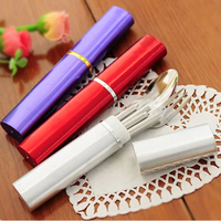 2set/lot Chinese style carry-on portable cutlery stainless steel tableware 3 pcs/set folding chopsticks spoon fork Color random