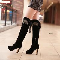 Winter boots high-leg boots nubuck leather boots thick heel ultra high heels boots repair boots elegant