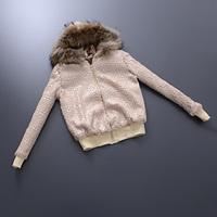 European Top Fashion Autumn Winter 2014 Women Ladies Brand Personality Raccoon Fur Hooded Outwear Jacket Coat High Quality