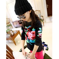 2014 autumn and winter fashion Girls' clothing doodle pullover sweatshirt children long-sleeve sweater