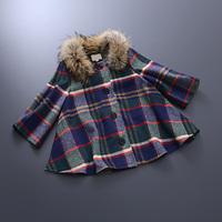 Europe Station 2014 Autumn Winter Women Ladies Casual Brand Color Block Plaid Raccoon Fur Collar Outwear Woolen Jacket Coat