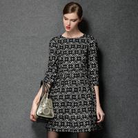 Autumn Causal Fashion Dress Women Plus Size L - 4XL Three Quarter Sleeve Elastic Slim Waist High Quality Pretty Lace Print Dress