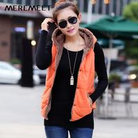 New 2014 Autumn Winter Women's Hooded Slim Vest Plus size Plus Velvet Thermal down cotton Vest Female Outwear All-match