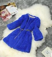 Free shipping 2014winter women's medium-long slim three quarter sleeve plus size really rabbit fur outerwear coat jacket (S-3XL)