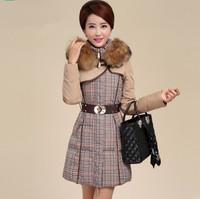New arrive 2014 winter houndstooth patchwork raccoon fur down coat medium-long jacket slim warm down jacket women clothing