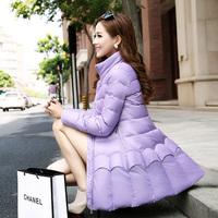 2014 women's jacket slim medium-long down coat thickening involucres down coat