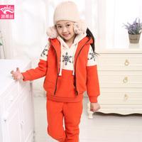 Free shipping 2014 Children's winter plus size casual plus thick velvet sweatshirt three piece set coat +pants+top (120-160CM)