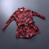 European New Fashion 2014 Autumn Winter Women Female Casual Brand Camouflage Print Tops Cardigan Sweatshirt And Shorts Suit Set