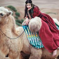 [LYNETTE'S CHINOISERIE - MOK ] Minnith camel bandage vintage linen high waist one-piece dress handmade decoration
