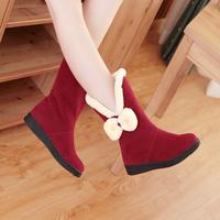 Free Shipping! Child winter snow boots female child medium-leg boots girl flat boots