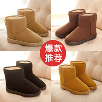 2014 thickening fashion solid color flat all-match short boots snow boots casual female cotton-padded shoes