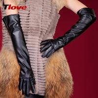 Tlove women's design long leather gloves winter 50cm women's gloves female arm sleeve 6035