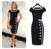Fashion elegant vintage 2014 patchwork color block one-piece dress single breasted short