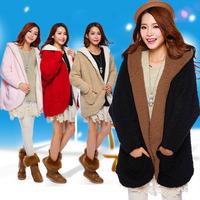 Women's wadded jacket reversible berber fleece outerwear medium-long plush cap autumn overcoat