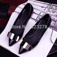 2014 elegant bow flats 2 solid color ol women's flat heel shoes