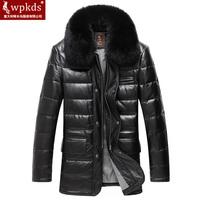 Medium-long genuine sheepskin leather clothing male men's down leather clothing mink hair genuine leather down coat male