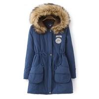 Winter 2014 long-sleeve slim waist plus velvet berber fleece outerwear solid color medium-long with a hood wadded jacket female