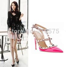 vendita calda delle donne alti talloni sexy delle signore pointed toe fashion studded buckle stiletto alti talloni sandali scarpe pompe(China (Mainland))