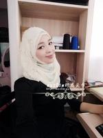 Muslim hijab scarf fashion handmade beaded white