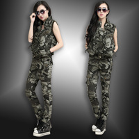 camouflage vest Camouflage multi-pocket pants twinset set female autumn outdoor training uniform
