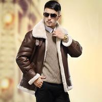 Wpkds2014 male fur one piece turn-down collar short jacket design genuine fur coat leather clothing
