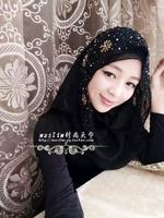 2014 Free Shipping Muslim hijab scarf handmade beaded black