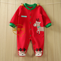free drop shipping baby long sleeve cartoon reindeer romper infant rompers boy's girl's Wear baby Romper baby clothes