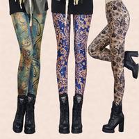 Super Soft Elastic Plus Size Autumn Winter Warm Women's Vintage Print Flower Leggings Trousers Female Full Length Pants Capris