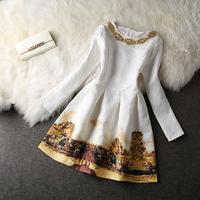 2014 early autumn newest fashion elegant slim print ladies long-sleeve dress white sweet princess dress S M L XL