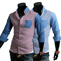 2014 autumn Men long-sleeve shirt denim color block plaid casual shirt