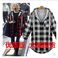 Fashion plus size autumn clothing new arrival outerwear coats plus size plus size mm loose plaid top Free shipping