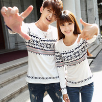 Free shipping 2014 autumn lovers t-shirt slim t-shirt national trend t shirt