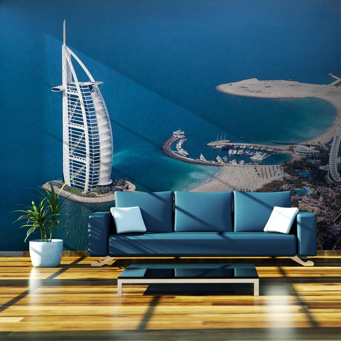 Burj al arab hotel dubai luxury large mural wallpaper for Contemporary resort mural