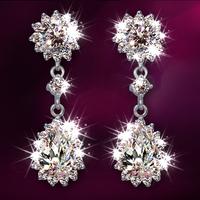 Imitation Diamond Dangle Earring for Women/Girls Earrings pure 925 Sterling Silver Wedding Jewelry Crystal White Earrings E470