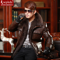 Wpkds leather clothing fur collar male genuine leather down coat leather clothing thermal outerwear fur one piece