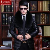 Wpkds male genuine leather clothing down coat medium-long sheepskin outerwear large fox fur
