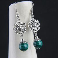 Free shipping (minium order is $15) Fashion silver flower azurmalachite accessories vintage jewelry earrings drop earring