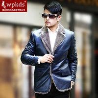 Male fur one piece genuine leather clothing medium-long leather clothing luxurious sheepskin rex rabbit hair
