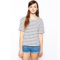 Free Shipping Basic black and white stripe o-neck short-sleeve t-shirt
