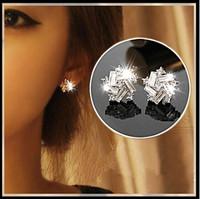austria crystal earrings fashion k gold zircon earrings artificial drill stud earring white gold plated stud earring E473