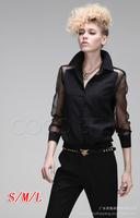 Autumn Hot-selling fashion punk 2014 quality long-sleeve slim shirt patchwork chiffon perspective shirt
