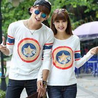 Free shipping 2014 autumn lovers t-shirt print slim long-sleeve basic t shirt