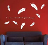 free shipping Waterproof antifouling DIY wall stick customization wall stick eternal love love feathers