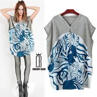 Women shirt 2014 plus size clothing casual fashion medium-long blouses V-neck 100% cotton batwing sleeve plus size short-sleeve